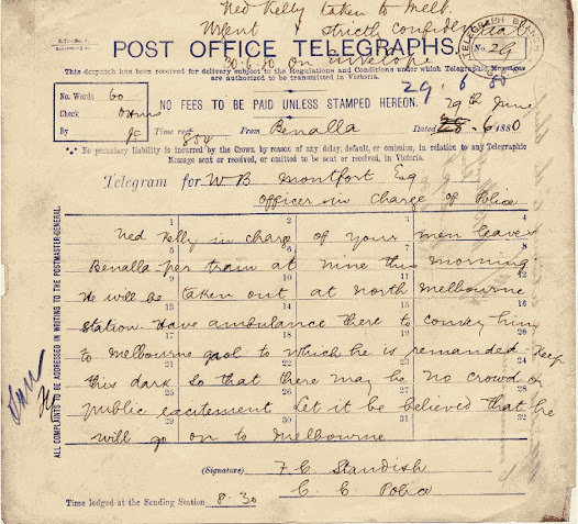 CCP Standish wrote this telegram to Inspector Montfort on 29 June 1880 just a day after the Glenrowan siege. He requests that the details of Ned's journey from Benalla to Melbourne be kept confidential. To avoid crowds, Ned was taken to North Melbourne and then transferred via ambulance to the Old Melbourne Gaol.
