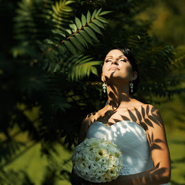 Bride by Donatas Zasciurinskas - Wedding Bride ( nature, leafs, shaddows, bride, sun )
