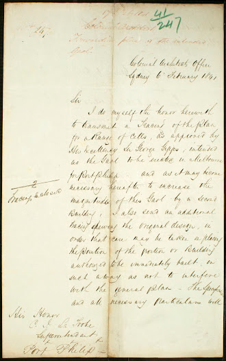 Colonial architect, Mortimer Lewis writes to Superintendent La Trobe about the gaol for Melbourne. Click on the image to read the transcription.