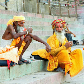 A tea break by Ripan Biswas - People Portraits of Men ( saffron, tea break, benaras, spirituality, people, saint )