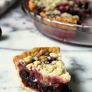 Sweet Cherry Pie with Ginger Crumble Topping