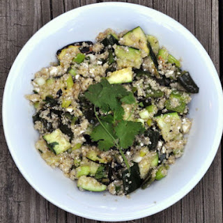 Quinoa Salad with Grilled Zucchini, Feta, and Poblanos