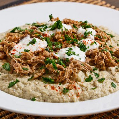 Baba Ghanoush Topped with Lamb and Yogurt
