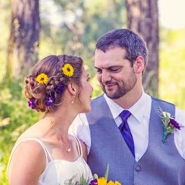 The Look by Simeon VonBerg - People Couples ( love, purple, montana, wedding, summer, couple, smile, newlyweds )