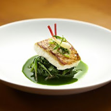 Milk-Poached Halibut Flavored with Rosemary and Kaffir Lime Leaves