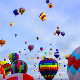 Colors Galore by Charles Kuster - Transportation Other ( hot air balloon, sky, pattern, color, balloon )