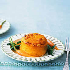 Carrot Pudding Souffles with Buttered Spring Vegetables