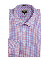 Neiman Marcus Regular-Finish Classic-Fit Gingham Check Dress Shirt, Pink/Blue - (17 36/37)