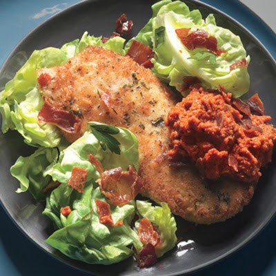 Chicken Cutlets with Romesco and Serrano Cracklin's