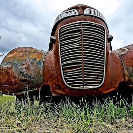 The Grill by Barbara Brock - Transportation Automobiles ( abandoned car, old car, car in the field, rusty car, antique car )