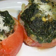 Baked Spinach-Topped Tomatoes