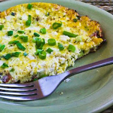 Mini Frittata or Un-Scrambled Eggs with Bacon, Feta, and Green Onions
