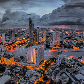 Landscape of River in Bangkok city in night time with bird view  by Anek Suwannaphoom - City,  Street & Park  Night