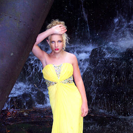 Siren Of The River by Beth Schneckenburger - People Fashion ( fashion, waterfall, gown, yellow, iron )