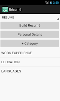 Screenshot of Resume / CV