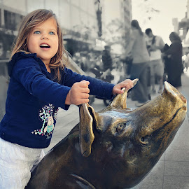 Riding a pig by Lucia STA - Babies & Children Children Candids