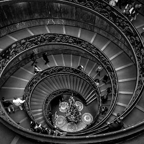 Spiral Staircase by Kean Low - Black & White Buildings & Architecture ( staircase )
