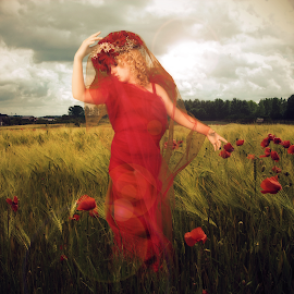 Field Of Dreams by Beth Schneckenburger - People Fashion ( field, red, dream, artistic, flowers )