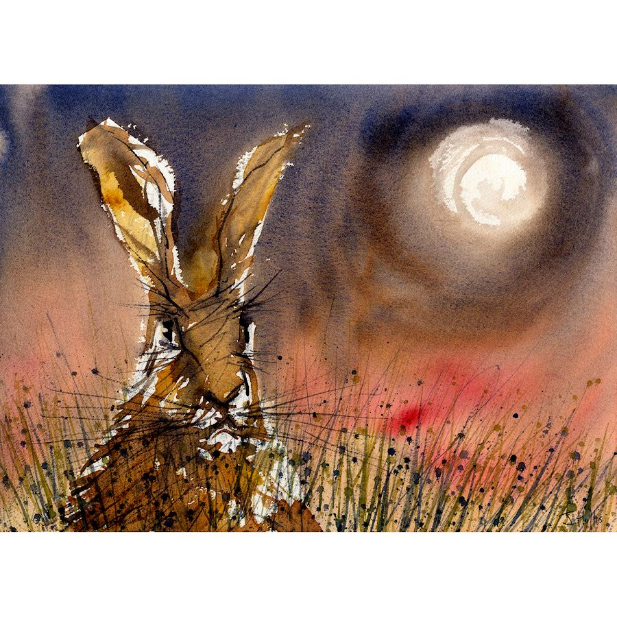 British wildlife painting print moon hare rabbit art