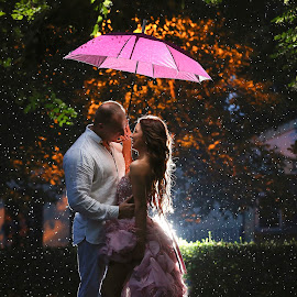 Rainy couple by Marko Milivojevic - Wedding Bride & Groom ( love, purple, color, colors, beautiful, umbrella, bride, passion, romance, groom, rain, Wedding, Weddings, Marriage )