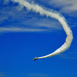 Is it a bird? by Janice Burnett - Transportation Airplanes ( blue sky, plane, antique, !airplane show, entertainment )