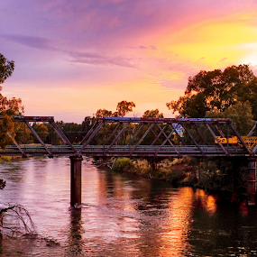 Sunset On The Murrumbidgee by Bevlea Ross - Landscapes Sunsets & Sunrises ( bridge )