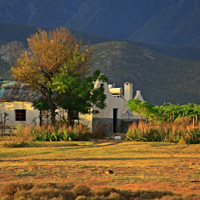 Farm House by David Smith - Landscapes Mountains & Hills ( field, farm, mountain, farm house, sunset )
