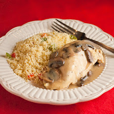 Mushroom Chicken Dijon with Red and Green Pepper Couscous