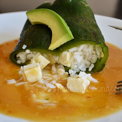 Bell Pepper Stuffed with Rice and Panela Cheese