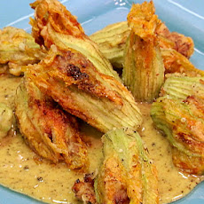 Crispy Squash Blossoms Filled with Pulled Pork and Ricotta