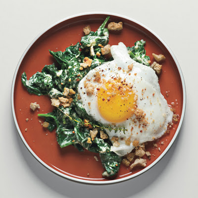 Sunny-Side-up Eggs on Mustard-Creamed Spinach with Crispy Crumbs