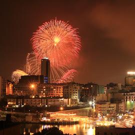 Fireworks  by Mario Borg - Abstract Fire & Fireworks ( malta, fireworks, st julians, portomaso )