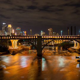Childhood Cancer Awareness Day by Erin Dybedahl - City,  Street & Park  Night ( skyline, minneapolis, reflections, bridge, gold, cancer )