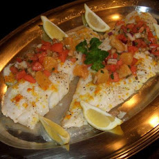 Cod Fillets With Orange and Cracked Green Olive Salsa