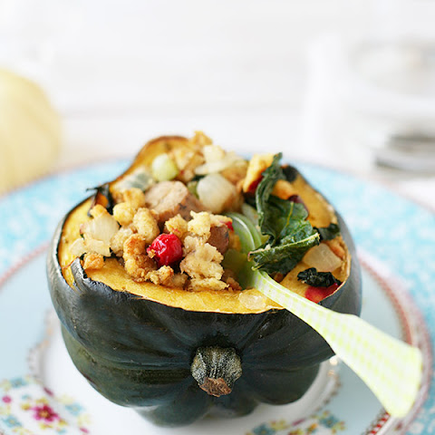 Kale, Cranberry, and Sausage Stuffed Acorn Squash