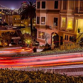 Lombard Street by Lee Jorgensen - City,  Street & Park  Night ( lombard street, light trails, san francisco, slow shutter, nightscape )