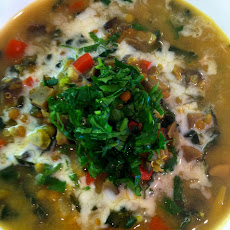 Delicious Vegan Soup With Mung Beans & Kale