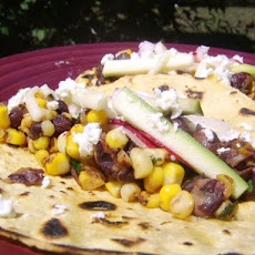 Charred Corn Tacos With Zucchini Slaw