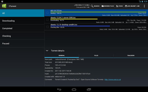 ttorrent-lite-torrent-client for android screenshot