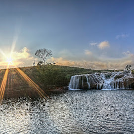 Thlumuwi Falls in the Sunset by Manabendra Dey - Landscapes Waterscapes ( hdr, in the sunset, jayantia hills, meghalaya, thlumuwi falls )