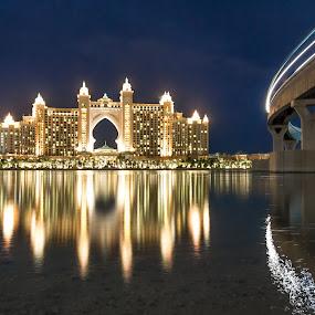 Atlantis Dubai by Wissam Chehade - Buildings & Architecture Office Buildings & Hotels ( water, mydubai, dubai, blue hour, sunset, reflections, sea, long exposure, night, beach, bridge, atlantis,  )