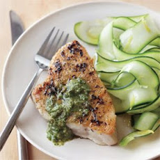 Grilled Tuna with Basil-Walnut Sauce