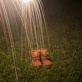 Work shoes by Jeff Anderson - Abstract Light Painting ( artistic, #lightpainting, object, #shoes, #sparks )