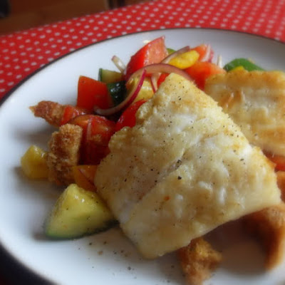 Crispy Cod with a Gazpacho Salad