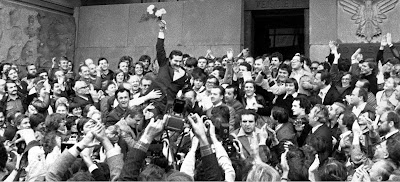 Lech Wałęsa carried in triumph by his supporters after registration of the Solidarity trade union, 10 November  1980.