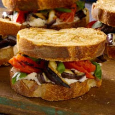 Grilled Eggplant and Tomato Sandwiches with Romano-Black Pepper Mayonnaise