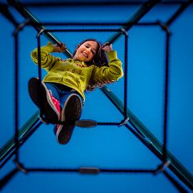 Framed by Rob Germain - Babies & Children Children Candids ( climbing, girl, aparatus, framed, sneakers,  )