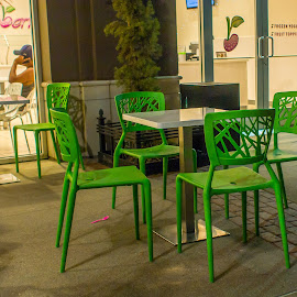 Green Chairs by Karen Martin - City,  Street & Park  Markets & Shops ( shops, westgate, nightlife )