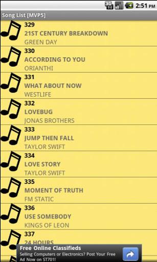 Song List [MVP5]