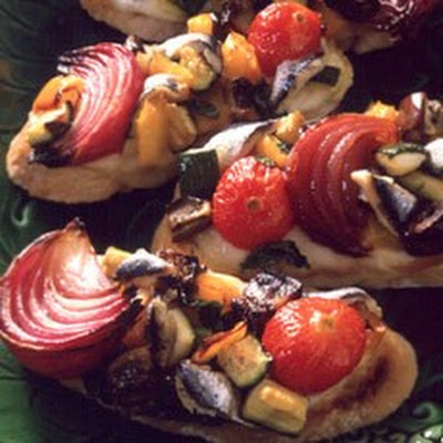 Crostini with Anchovies, Roasted Vegetables and Mozzarella